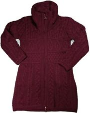 Arancrafts Ireland Merino Wool Long Zip Waisted Burgundy Cardigan Cable Medium