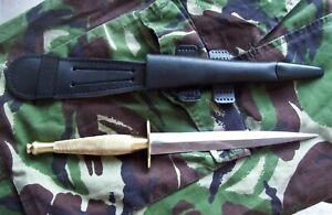 British Army Fairbairn Sykes Commando fighting knife, 2nd pattern, brass handle