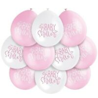 "10 x Baby Shower 9"" Pink Mix Latex Balloons Air Fill Girls Party Decoration"