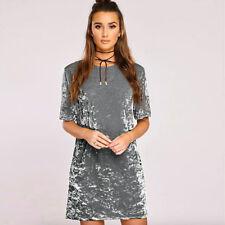 Womens Crushed Velvet  Mini Dress Short Sleeve Loose Long Tops T Shirts Blouse
