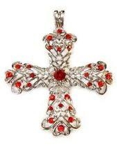 Cross, Siam Red Crystals, Magnetic Bail, Beautiful Christian Gift Pendant #96-D