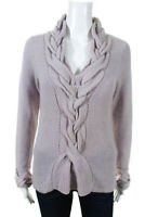 Magaschoni Womens Braided Trim V Neck Knit Sweater Purple Wool Size Small