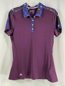 adidas Women's Merch Sh/Sleeve Polo Golf Shirt Red Night - Purple S NWT