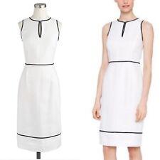 NWT $138 J. Crew Petite 4 White Herringbone Linen Sheath Dress 4P Suiting