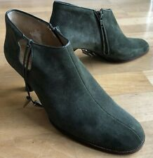 Ladies Charles Jourdan Green Suede Ankle Boots Size 5 Excellent Condition AWAY
