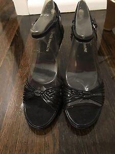 Size 9 Black Leather Enzo Angiolini Wedge