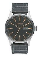 **BRAND NEW** NIXON WATCH THE SENTRY LEATHER GRAY GATOR A1052145 NIB!