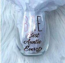 Rose Gold Chrome Best Auntie Ever 15 Ounce Stemless Wine Glass Sister Gift Aunt