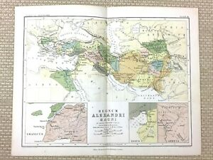 1853 Antique Map of Ancient Europe Alexander the Great Arbela Issus Granicus