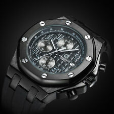 Chronograph Waterproof Sport Analog Mens Watch Silicon Strap Relojes de Hombre