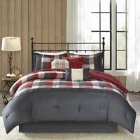 Madison Park Ridge King Size Ultra Soft Microfiber Plaid Red Bed Comforter Set
