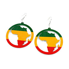 Handmade Hollow Wood Map of Africa Earrings