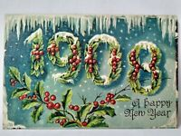 """Antique 1908 """"A Happy New Year"""" Holly And Berries Emb Divided Postcard, Saxony"""