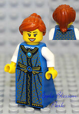 NEW Lego Pirates Orange Hair FEMALE MINIFIG w/Blue Dress/Skirt Princess Girl