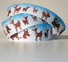 "Christmas Reindeer 1"" grosgrain ribbon 4 yds. holiday home decor crafts"