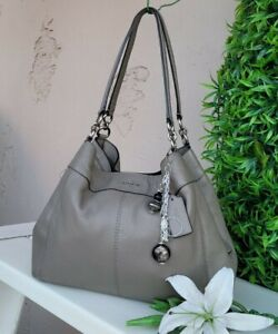 Coach 57545 gray fog leather large lexy shoulder hobo purse handbag carryall bag