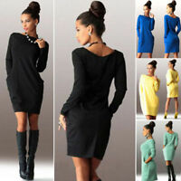 Women Pocket Sweatshirt Mini Dress Long Sleeve Pullover Party Jumper Sweater Top