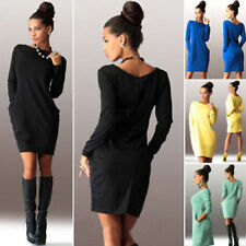 femme tricot robe manches longues Sweat-shirt Haut Pull-over fête Mini NEUF