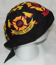 skull cap hat do du doo rag fire dept 'first in-last out' sweat band made in USA