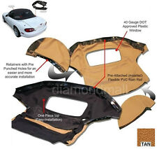 Mazda Miata Convertible Top & Attached (Pre-Installed) Rain Rail TAN Cabrio PC