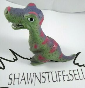 T-Rex Tyrannosaurus Dinosaur Toy Figure Rubber Hollow Green Pink 3.50in. Tall