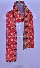 Vintage Reversible Cotton Kantha Quilted Stoles Paisley Design Women Wrap Scarf