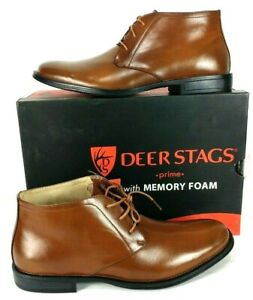 NEW Deer Stags Prime Men's Mean Dress Boots Luggage Brown Leather SZ 11.5