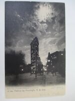 Old Vintage Postcard America New York City Flatiron Building by Moonlight 1907