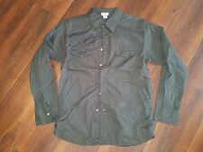 Dark Green long sleeve button up dress casual shirt Vintage style dress shirt XL