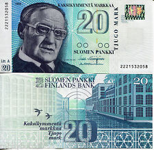 FINLAND 20 Markka Banknote World Paper Money Currency p123 1997 BILL Europe Note