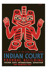 HAIDA INDIANS blanket design WPA INT'L exposition poster 24X36 VINTAGE 1939