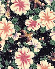 Sparrows in Rain Garden:  Black/Silver Asian Japanese Quilt Fabric -1/2 Yd.