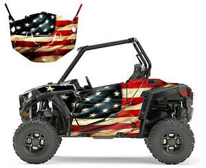 2015 2017 2018 RZR 900 graphics kit with door wrap Tattered American Flag