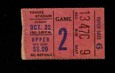 1961 NEW YORK GIANTS vs L A RAMS  Ticket Stub