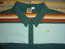 Mens Small Green/Rust Striped Hang Ten Cotton Polo Shirt - Nwt
