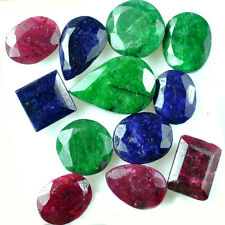 94.50 Ct Natural Ruby, Emerald & Sapphire Mix Gems Lot // 12Pc For Jewelry