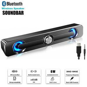 Wireless Speakers Bluetooth Stereo Soundbar RGB LED Stereo For PC Desktop Laptop