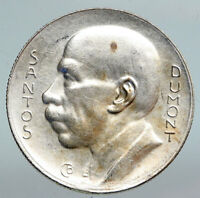 1936 BRAZIL Alberto Santos Dumont AVIATION Antique Silver 5000 Reis Coin i90337