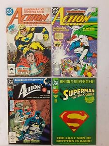 ACTION COMICS Comic Book Lot of 4, Numbers 594, 596, 654 and 687. Nice!