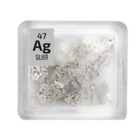Silver Metal  99.999% 1 Gram Sample Ag Pure Crystals in Periodic Element Tile