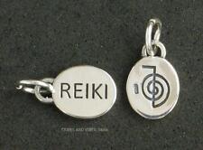 REIKI Cho Ku Rei Charm 13mm 925 Sterling Silver 2sided Jewellery inc jump ring