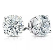 1 Carat Natural Man Made Diamond Miracle Stud Earrings In Sterling Silver