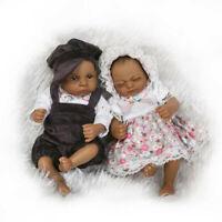 "Realistic Handmade Girl Boy Baby Twins Silicone Reborn Black Dolls Xmas Gift 11"""