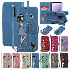 Luminous Magnetic Leather Flip Stand Wallet Case Cover For Samsung Galaxy Phones
