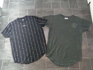 mens t- shirts x 2 size medium- hollister and siksilk