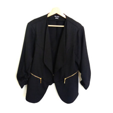 Flattering CITY CHIC Black Drape Ruched Sleeve Jacket Blazer | Sz SMALL AU 16