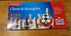 Traditional wooden pieces chess and draughts set Ages 6 + classic