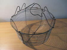 Antique French Primitive Metal Wire Egg Basket with Handle...c.1910