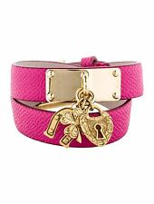 SPECTACULAR NEW DOLCE & GABBANA PINK DOUBLE WRAP TEXTURED LEATHER BRACELET