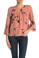 Joie $248 Pink & Navy Floral Crepe Bell Sleeve Awilda Top Blouse SZ XS
